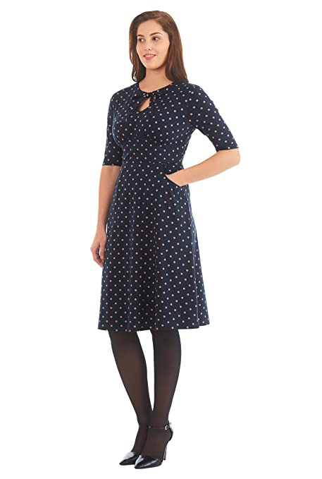 1940s Style Dresses and Clothing eShakti Womens Tie neck polka dot cotton knit dress $63.95 AT vintagedancer.com