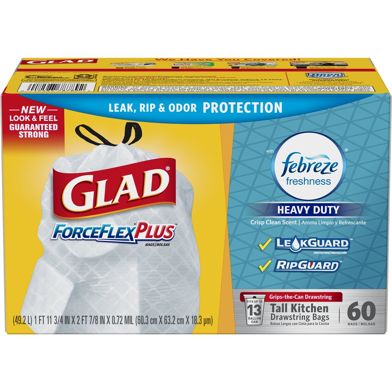 Glad ForceFlex OdorShield Tall Kitchen Drawstring Trash Bags - Febreze Crisp Clean - 13 Gallon - 60 Count
