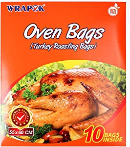 WRAPOK Oven Turkey Bags Roasting Cooking Large Size Baking Bag No Mess For Chicken Meat Ham Poultry Fish Seafood Vegetable - 10 Bags (21.6 x 23.6 Inch)
