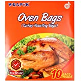 WRAPOK Turkey Oven Bags Large Roasting Cooking Size Ribs Baking Bags No Mess For Chicken Meat Ham Poultry Fish Seafood Vegetable - 10 Bags (21.6 x 23.6 Inch)
