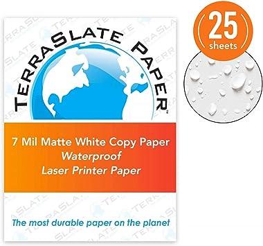 TerraSlate Copy Paper Waterproof Laser Printer, Rain Weatherproof, 7 MIL, 8.5x11-inch, 25 Sheets