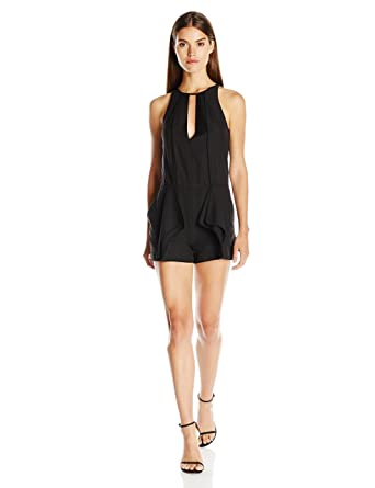 34d80a86df23 Halston Heritage Women s Sleeveless High Neck Romper with Flounce and  Binding
