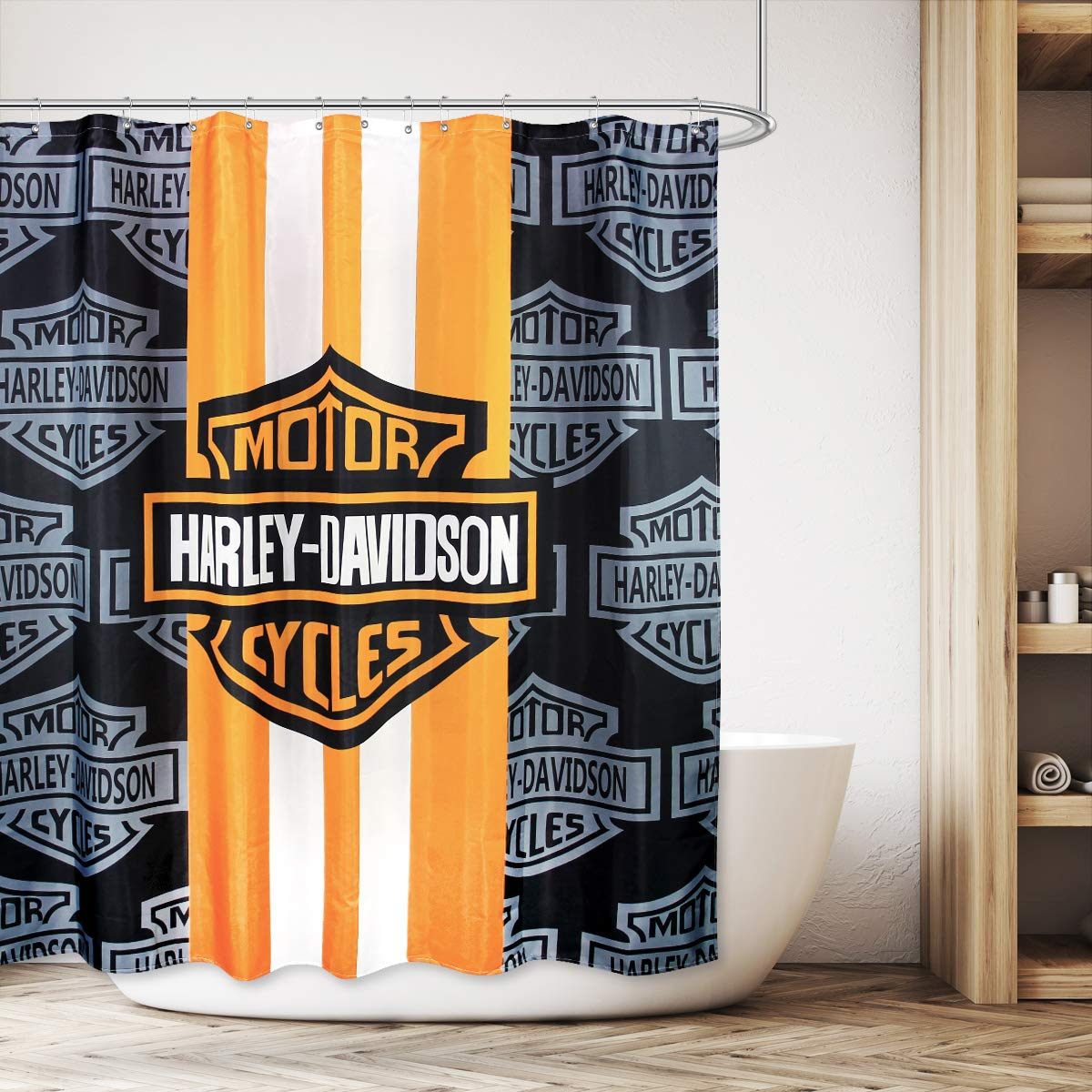 Cdcurtain Motorcycle Racing Waterproof Shower Curtain Jpg 1200x1200 Harley Davidson Hooks