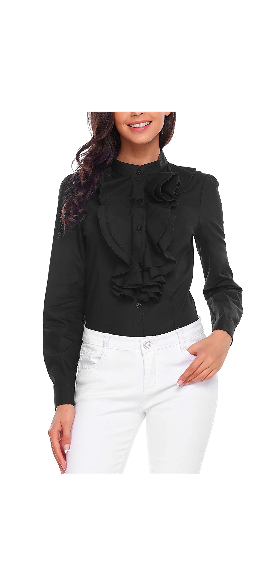 Women Victorian Blouses High Neck Shirts Long Sleeve Down