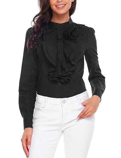 Zeagoo Women Ruffle High Neck Blouse Long Sleeve Button Down Ol