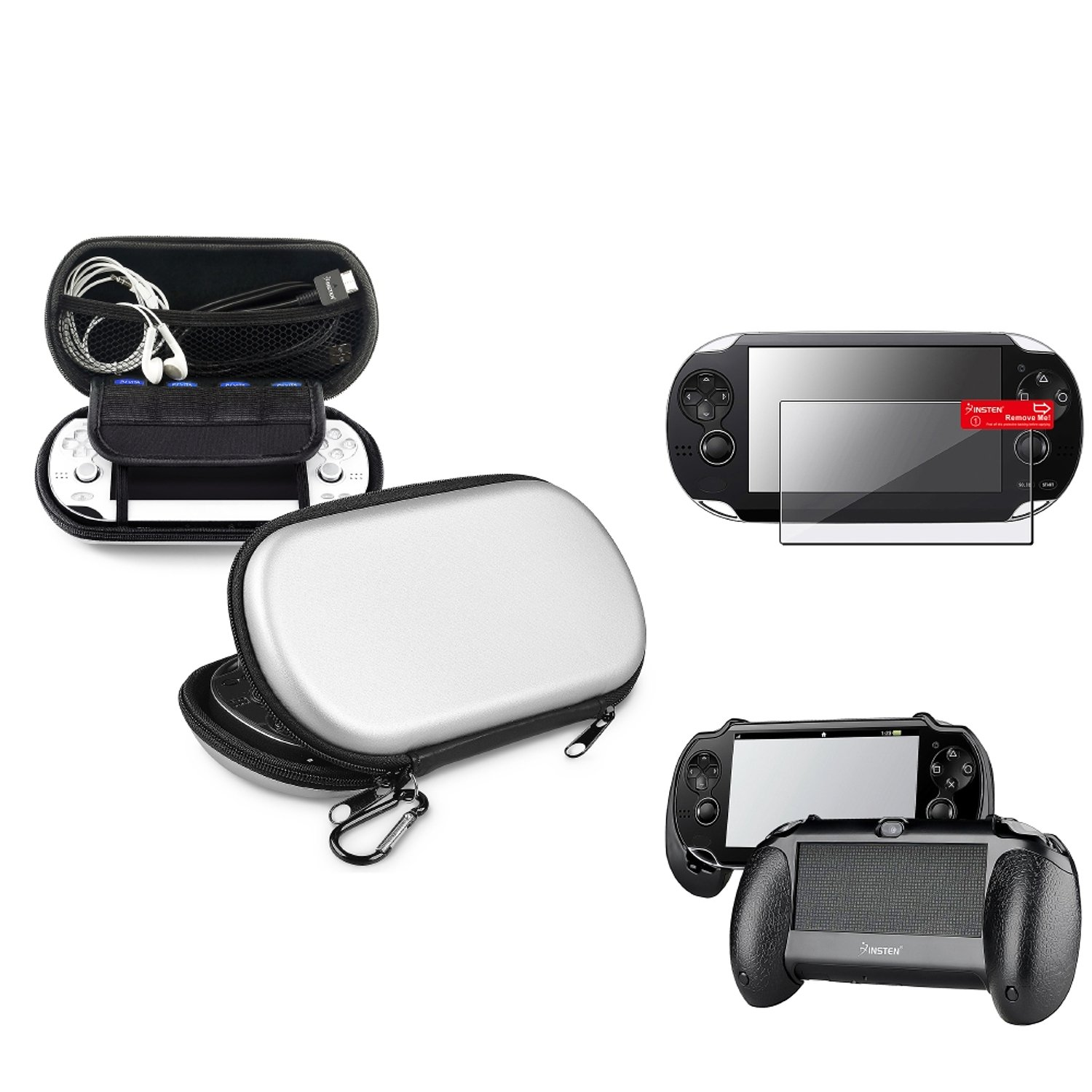Insten Silver EVA Case Cover + Black Hand Grip + Clear Screen Protector Compatible With Sony PS Vita PSV by INSTEN
