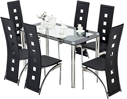 1 table 6 chairs BOJU Dining Room Table and 6 Chairs Set Home Kitchen Furniture 6 Black Faux Leather Chairs Glass Dining Table Rectangle