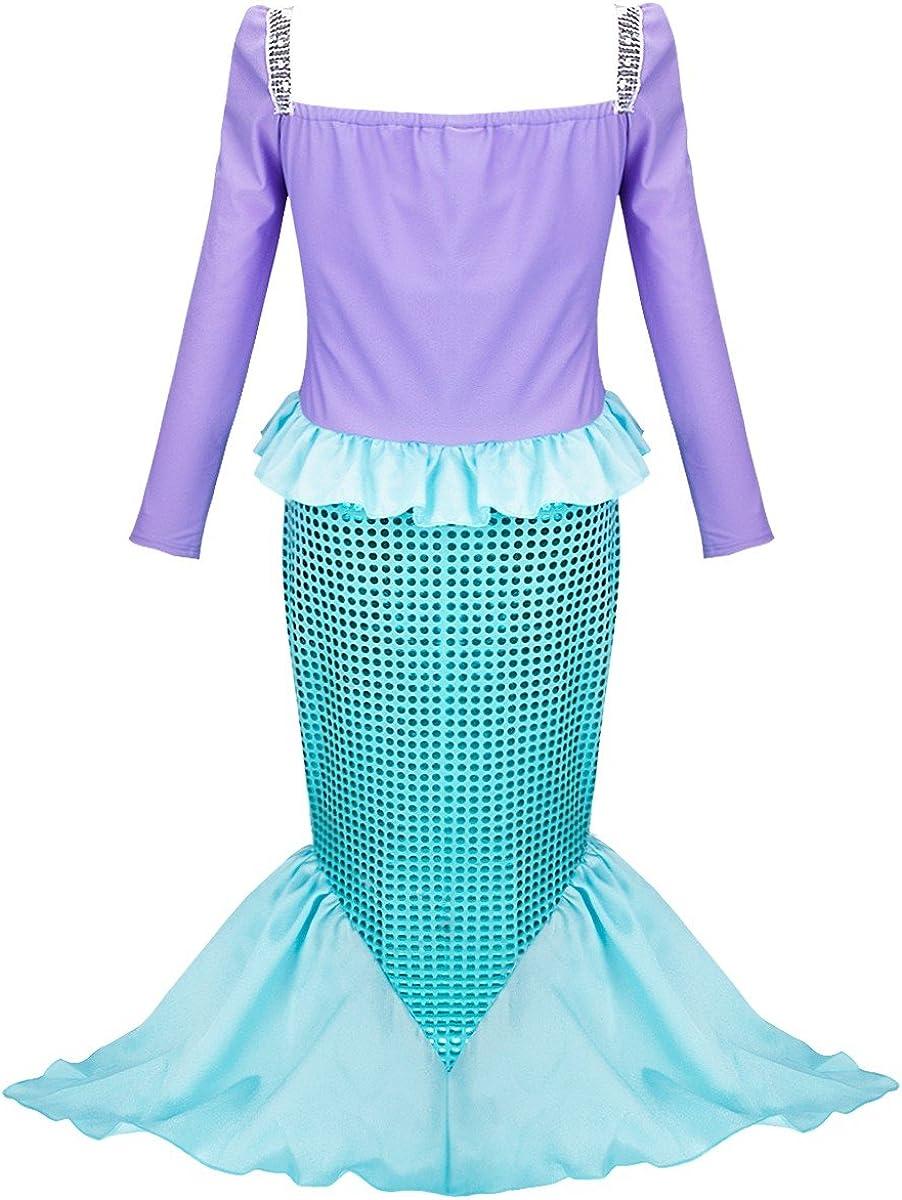 YiZYiF Vestido de Sirena Niñas Vestido Largo Manga Larga Brillante ...