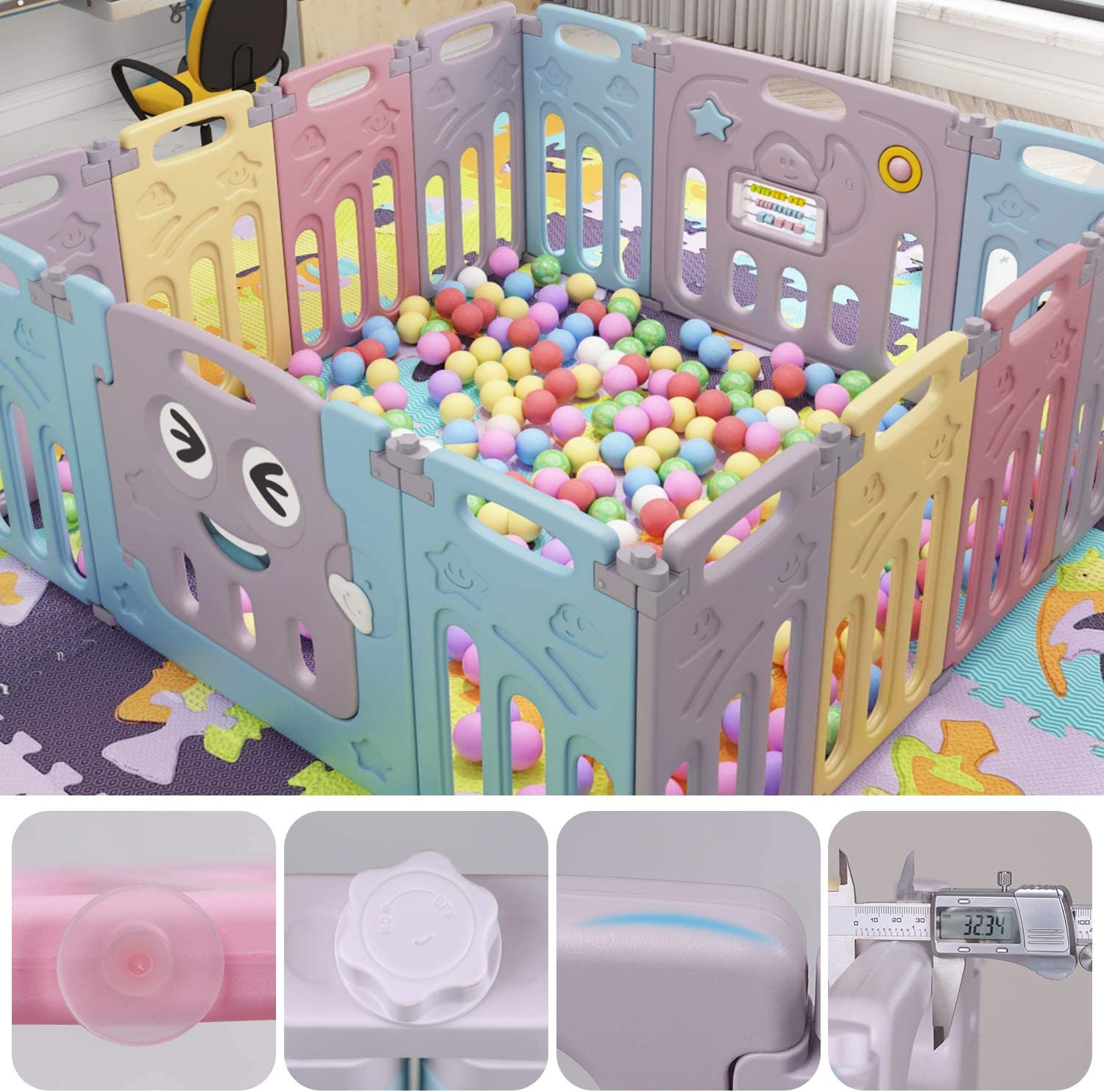 Baby Playpen Foldable Kids Activity Centre 14 Panel Safety Play Yard Baby Fence Home Indoor Outdoor for Children 10 Months~6 Years Old