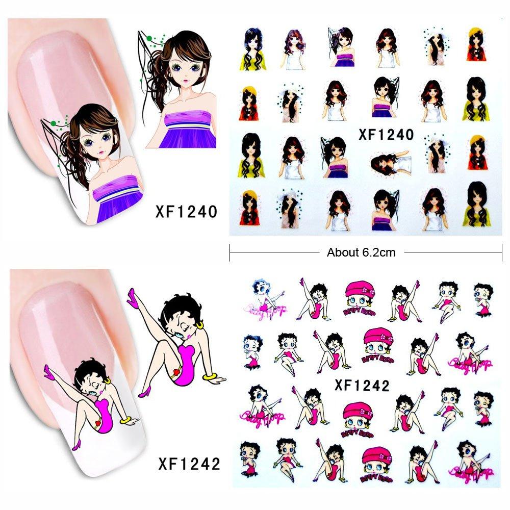 Nail Art Cute Pattern Flower Nail Stickers Women Nail Decoration 20 Sheets (1241)