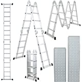 ARKSEN VD-33707TL 15.5FT Platform Purpose Ladder Multi-Fold Step Aluminum EN131 Scaffold Extension with 2-Free Plate, 15.5-FT w, Silver