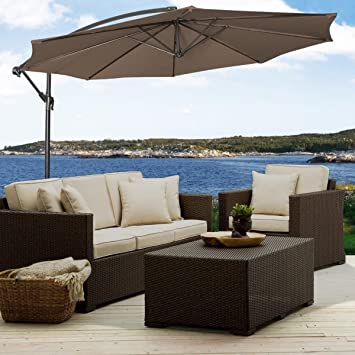 10/' Hanging Umbrella Patio Sun Shade Offset Outdoor Market W//T Cross Base