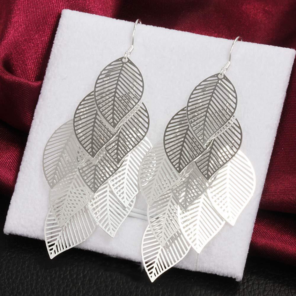 Onefeart Sterling Silver Stud Earrings for Women Pattern Leaves Drop Earrings 7.6CM Silver