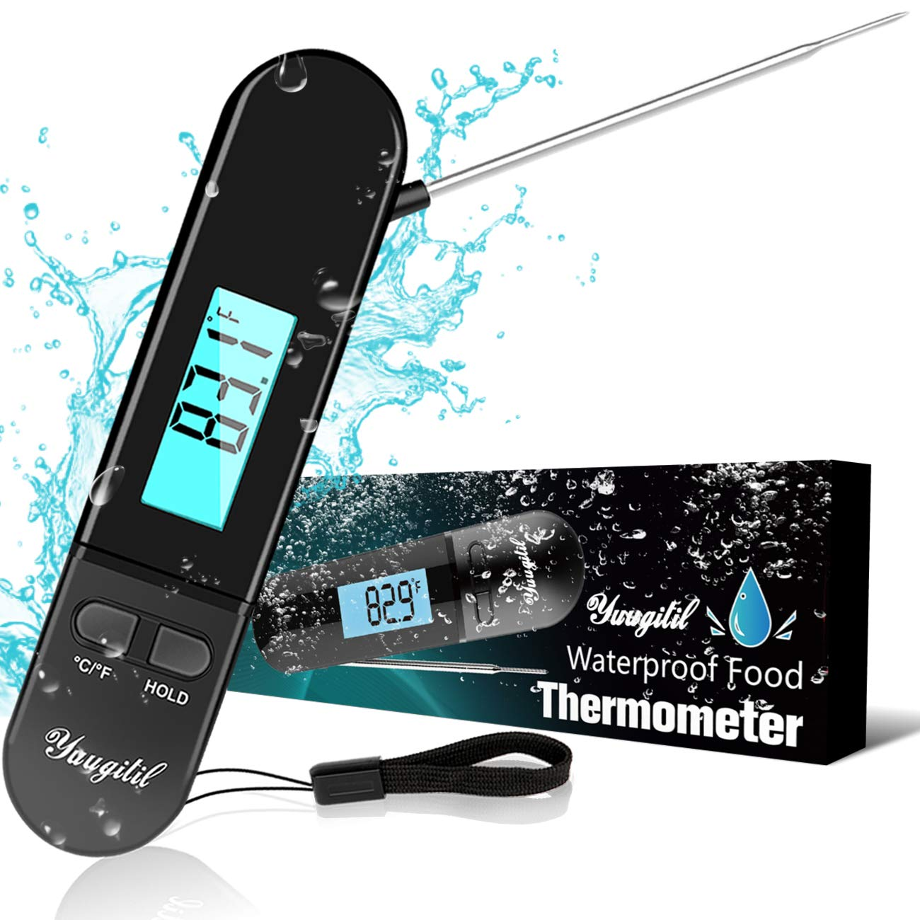 Meat Thermometer Instant Read for Grilling, Cooking Thermometer for Liquids YUUGITIL Upgrade Waterproof Kitchen Digital Food Thermometer, Large Backlit Screen, 235° Rotating Probe for BBQ/Candy/Baking