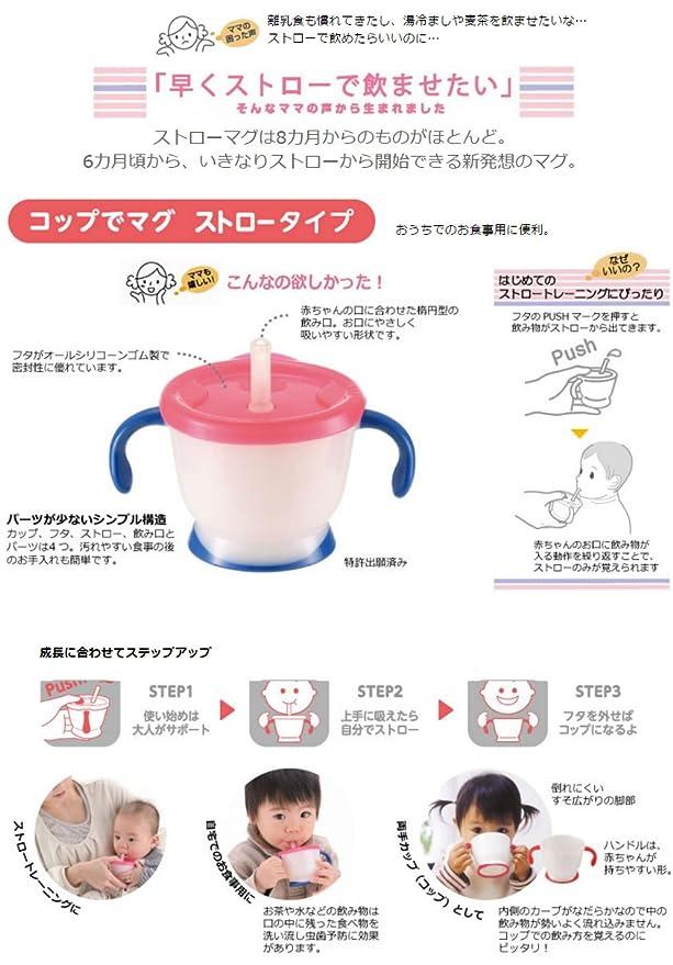 Mug straw type pink Richell Aquila cup