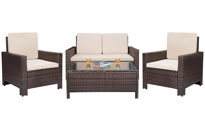 Amazon Com Homall 4 Pieces Outdoor Patio Furniture Sets Rattan