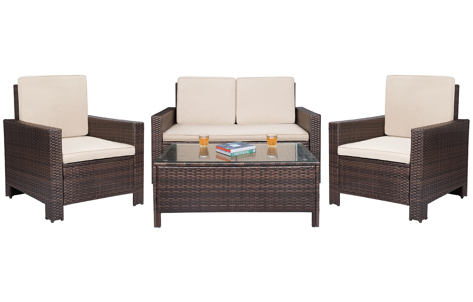 Patio Furniture Sets Clearance 4 PC Wicker Outdoor Sofa Set Rattan Sectional Sofa,for Backyard Porch Garden Poolside Balcony with Beige Cushion (Brown)