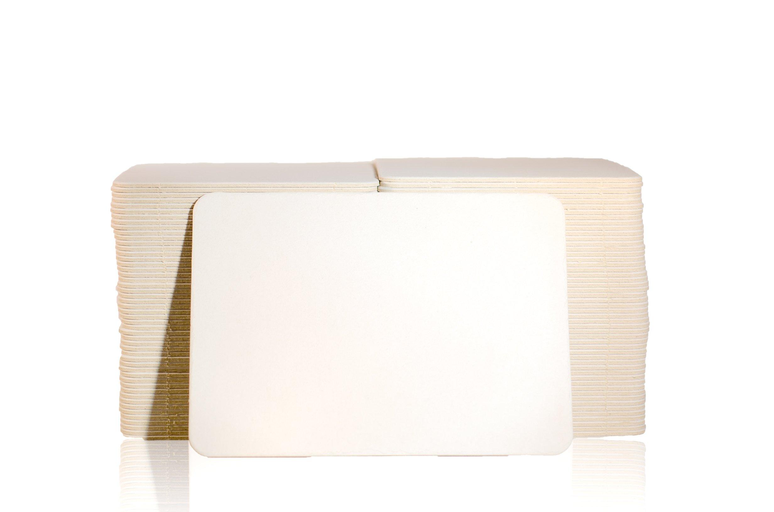 Katz Americas 3 7/8'' x 5 3/8'' Rectangle Heavyweight (80pt) Blank Pulpboard Coaster (Case of 1,000)