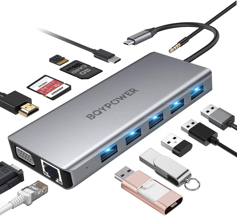 dock USB C compatibile per laptop USB C 5 porte USB VGA SD TF Hub USB C 14 in1 Gigabit Ethernet docking station USB C a triplo display con 2 HDMI 4K audio PD tipo C