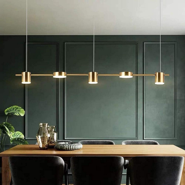 XXLYY Accesorio de iluminación Colgante Lineal Moderno de 3/5 Luces, lámpara LED de Techo Colgante para Mesa de Comedor, Sala de Estar, Cocina, Isla (Dorado, 5 Luces, luz cálida)