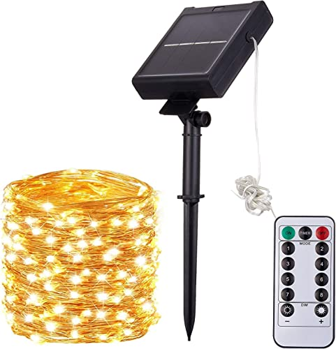 Goodking Solar String Lights Outdoor Waterproof, 200 LED 72ft 8 Modes Solar Copper Wire Fairy Lights for Christmas, Patio, Garden, Wedding, Party Indoor Decorative Warm White