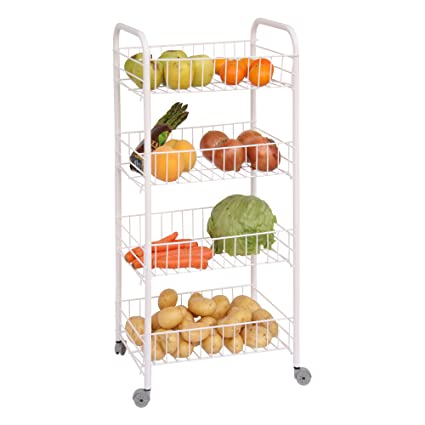 PROTENROP Carro para Frutas o verdulero, 4 Alturas, Color Plateado, Centimeters