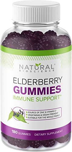 Sambucus Elderberry Gummies Family Size, 180 Gummies, for Children Adults, with Vitamin C, Zinc Black Elderberry Extract, Natural Herbal Supplement with Plant Pectin, Immune Support, Great Taste