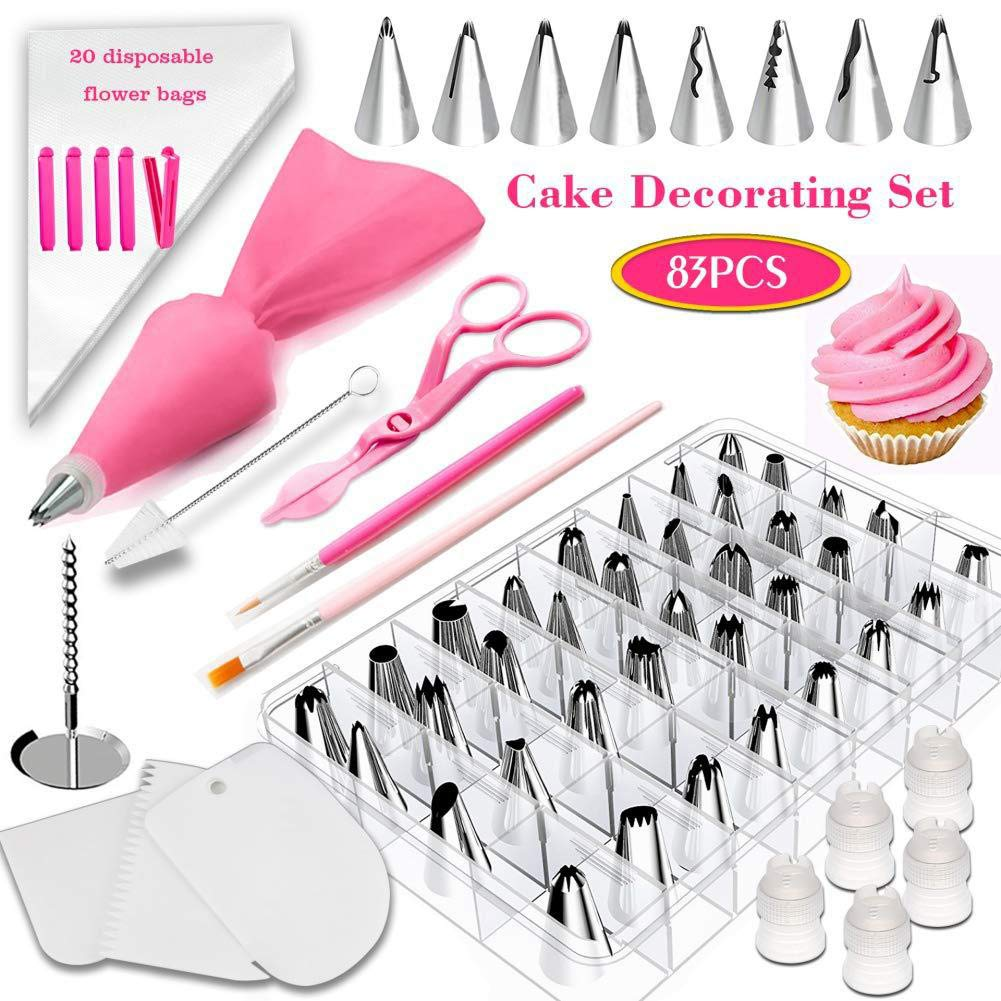 83 Pieces Cake Decorating Kit Supplies with 44 Stainless Steel Piping Nozzle Tips, Disposable Flower Bags, Reusable Pastry Bag, Bag Clip, Icing Smoother Spatulas, Flower Nail
