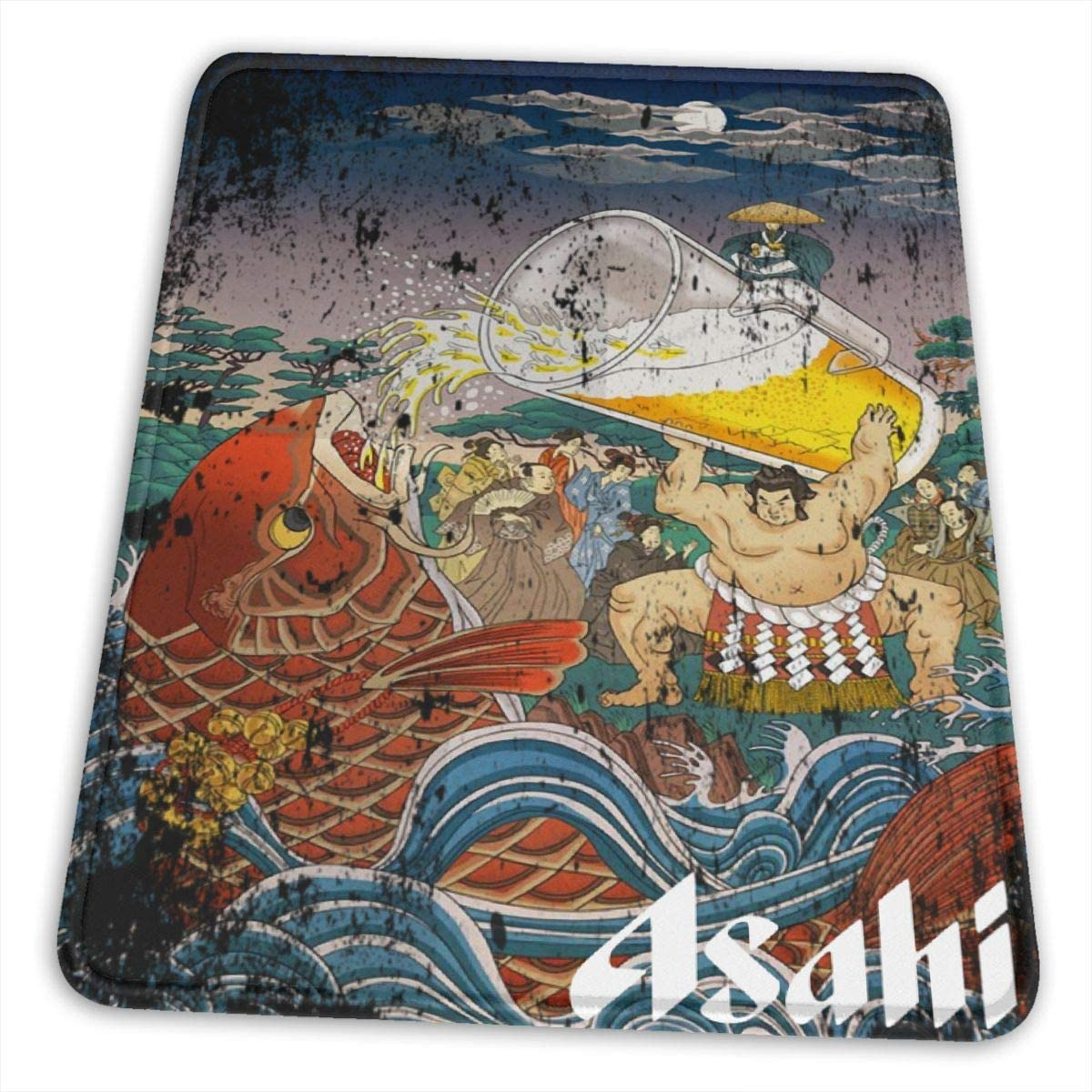 Anime & Sumo - Vintage Japanese Beer Poster Design Premium Hemming The Esports Mouse Pad Office Accessories Desk Decor Slip Rubber Mouse Pad