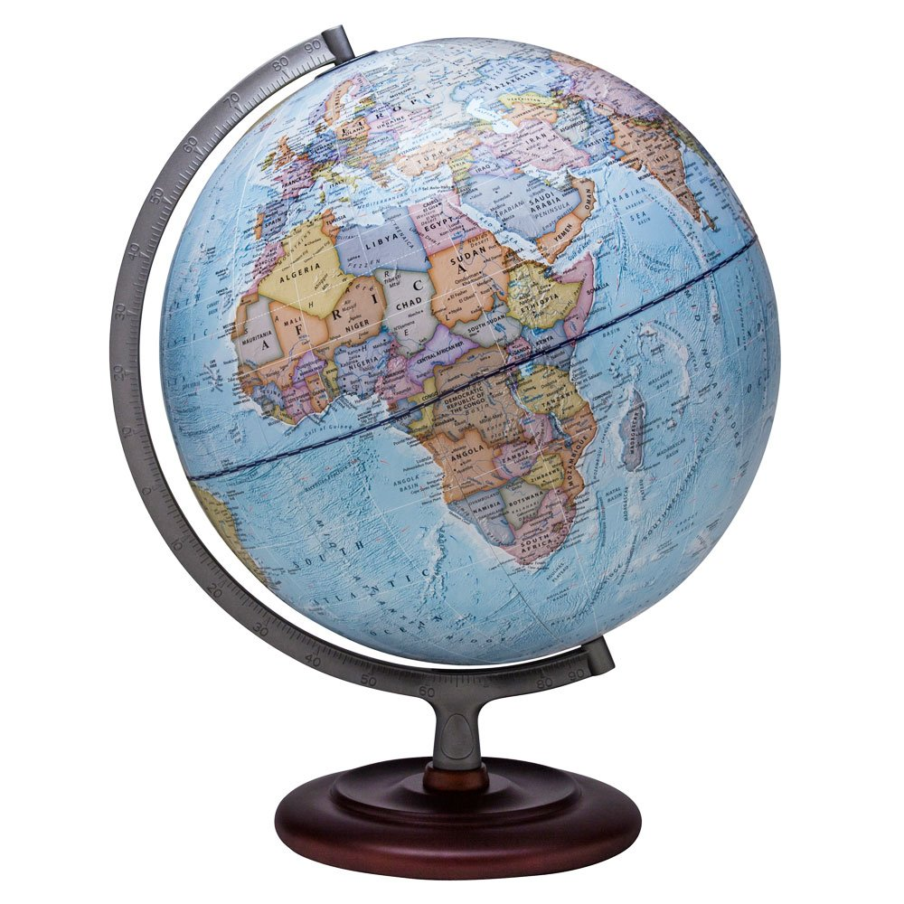 Waypoint Geographic Mariner Globe Political 12'' Desktop Globe with Wood Stand, 12'', Blue