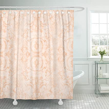 Amazon Emvency Shower Curtain Pink Coral Vintage Light Peach