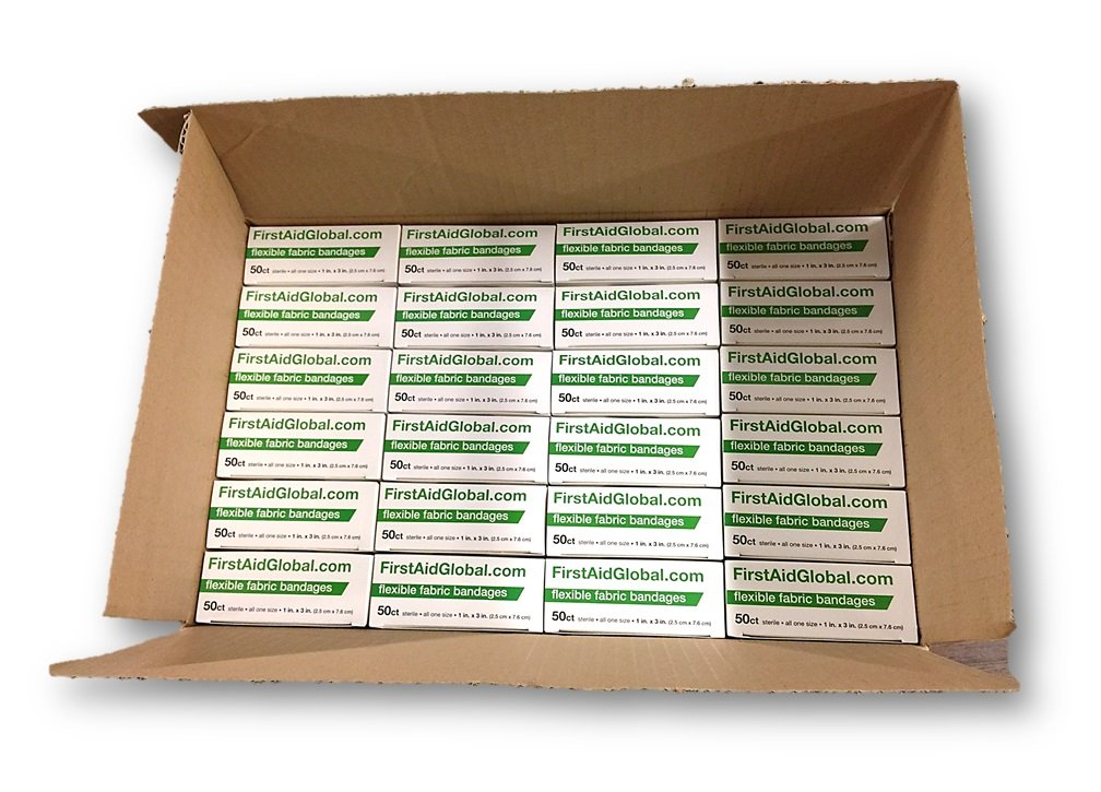Flexible Fabric Bandages 50/box & 24 boxes/case by FirstAidGlobal.com
