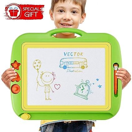 Pizarra Magica para Niños, Grande Tablero de Dibujo Infantil Borrable Pizarra Mágica Magnética Colorido para Doodle y Escritura, Portátil Juguetes ...