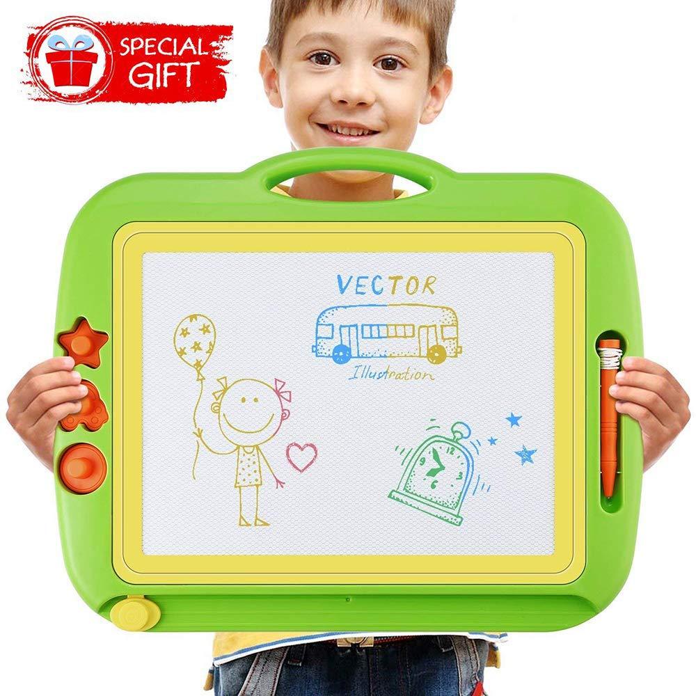 Ardoise Magique, 43 x 37cm table magique pour enfants grand Doodle Pad planche à dessin coloré avec 3 timbres magnétiques pour les enfants 3 4 5 ans product image