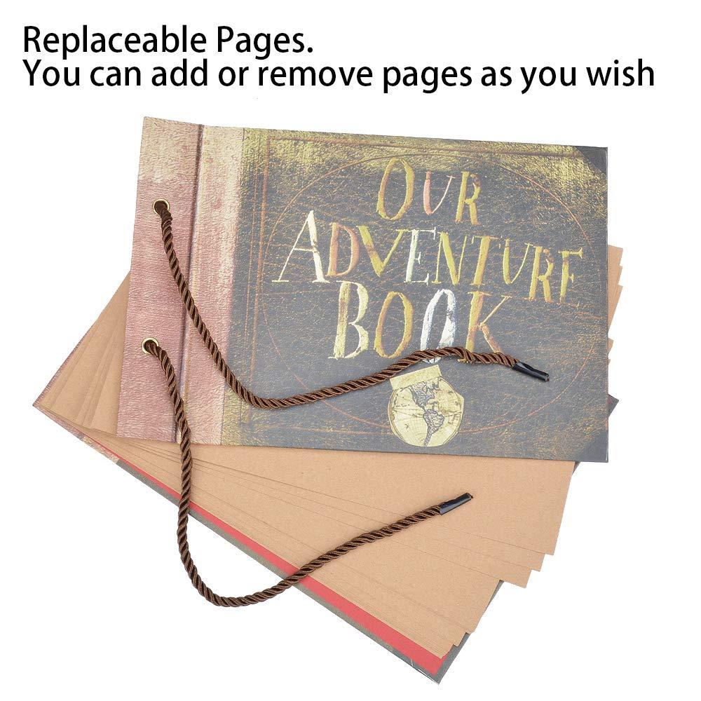 Photo Album Scrapbook, DIY Handmade Album Scrapbook Movie Up Travel Scrapbook for Anniversary, Wedding, Travelling, Baby Shower, etc (Our Adventure Book)