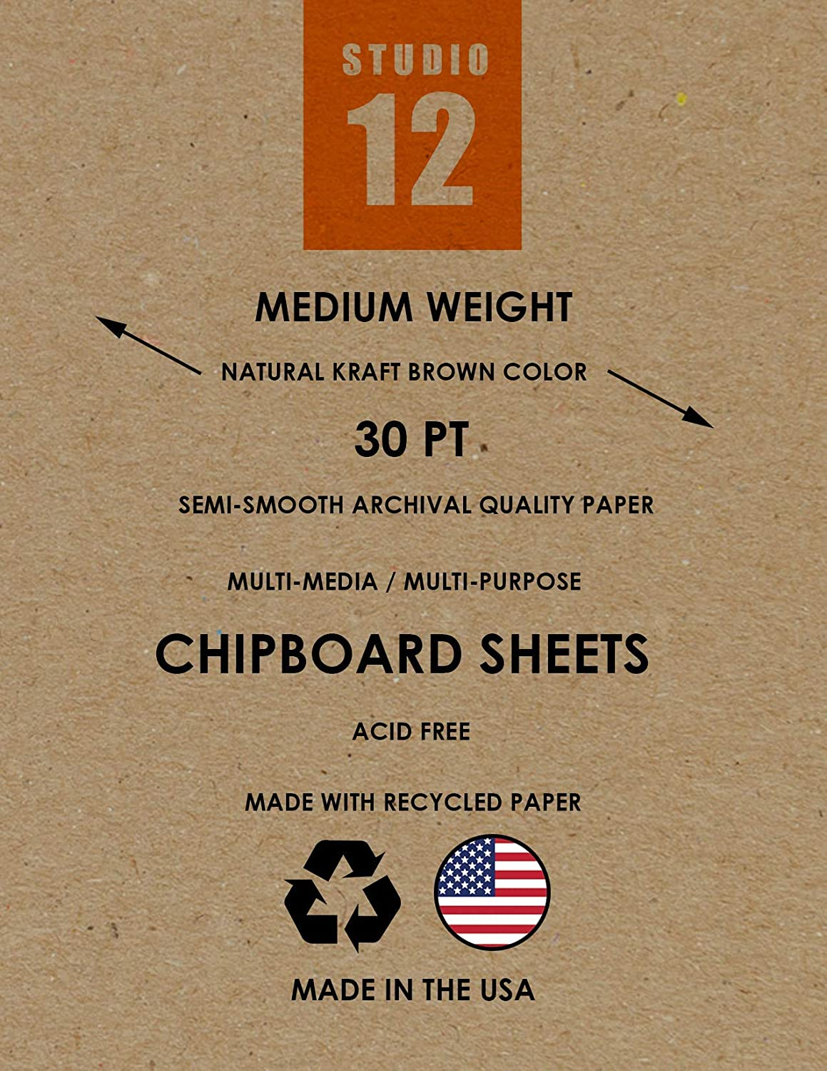 Natural Kraft Brown Studio 12 Chipboard Sheets 25 Sheets Great for Model Building Heavy Weight Scrap Booking 5.5 x 8.5 Creative Projects and Protecting Valuable Photos and documents.