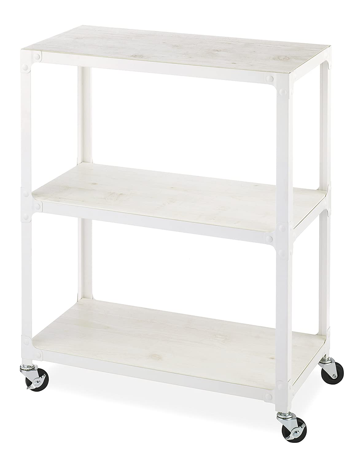 b04b8abd633a Whitmor 3-Tier Metal & Wood Cart-White