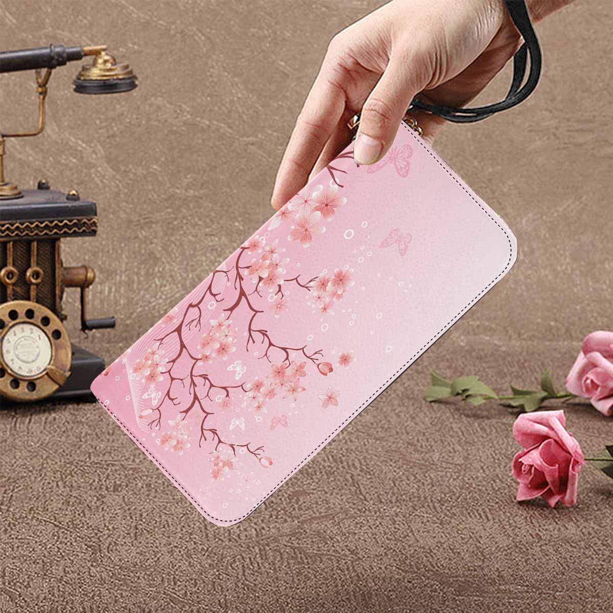 InterestPrint Womens Cherry Tree Blossom Over Nature Background Clutch Purse Card Holder Organizer Ladies Purse