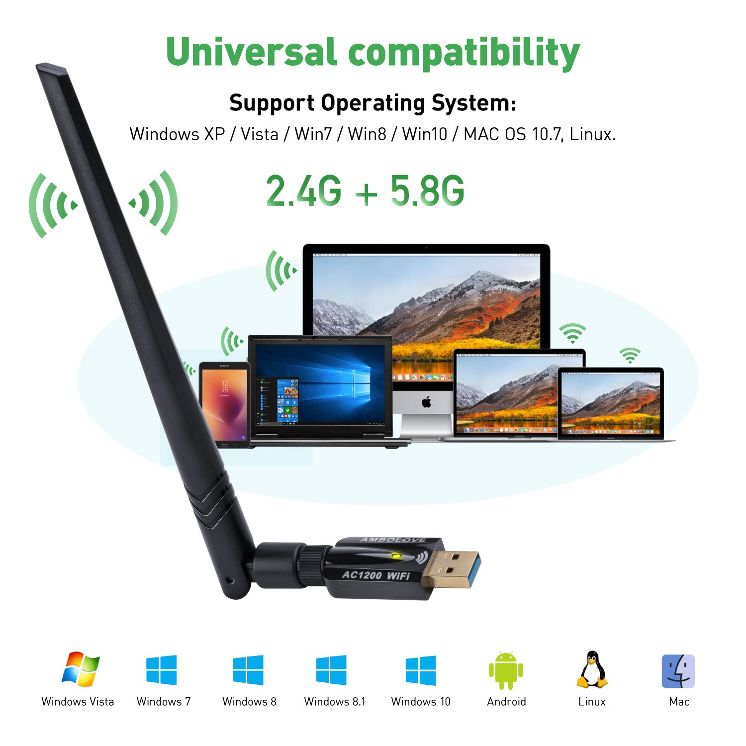 Amazon.com: AMBOLOVE USB WiFi Adapter, 1200Mbps USB Wireless Network Adapter WiFi Dongle/Antenna, Wireless USB WiFi Adapter for PC/Desktop/Laptop Support ...