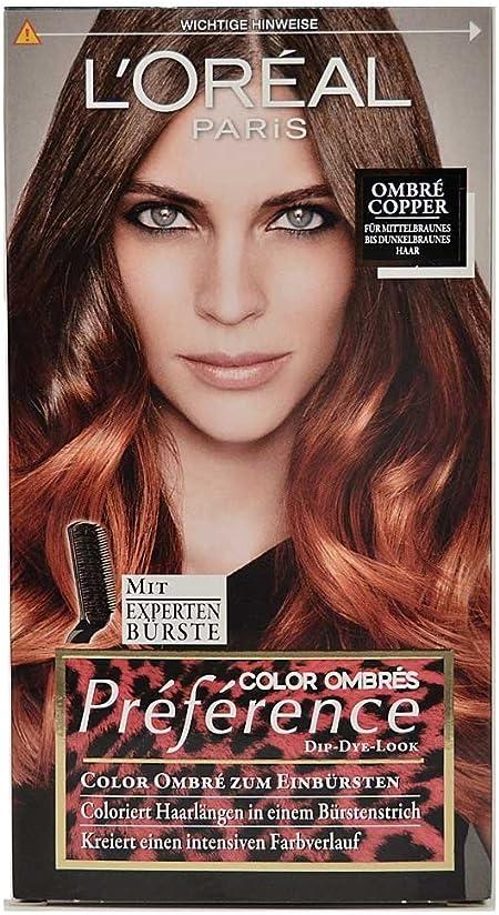 Loreal Preference Ombre Copper para cepillar, longitud del pelo teñido, 174 ml