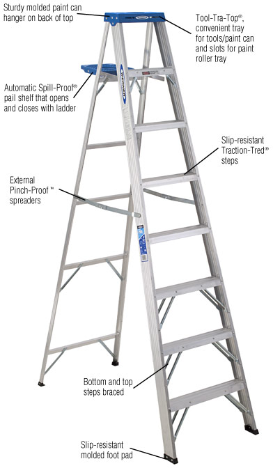 Werner 8 ft. Aluminum Step Ladder with 250 lb. Load Capacity Type I Duty Rating-368 - The Home Depot