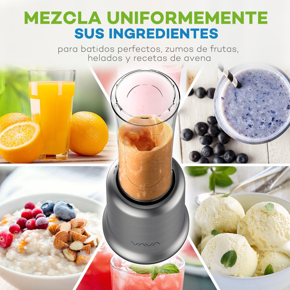 VAVA Mini Batidora Mix and Go con 2 Botellas (2 x 20 oz / 600 mL, 300W / 25000 RPM, Tazas sin BPA, Base de Acero Inoxidable, Hoja Desmontable): Amazon.es: ...