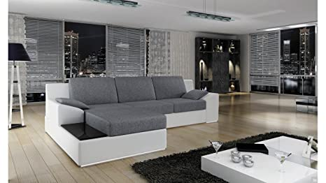 BMF Basilea angolo divano letto bianco grigio in ecopelle/tessuto ...