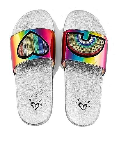 c1d97f40c4ce Justice Slide Sandals Rainbow Patch (9 Big Kid)