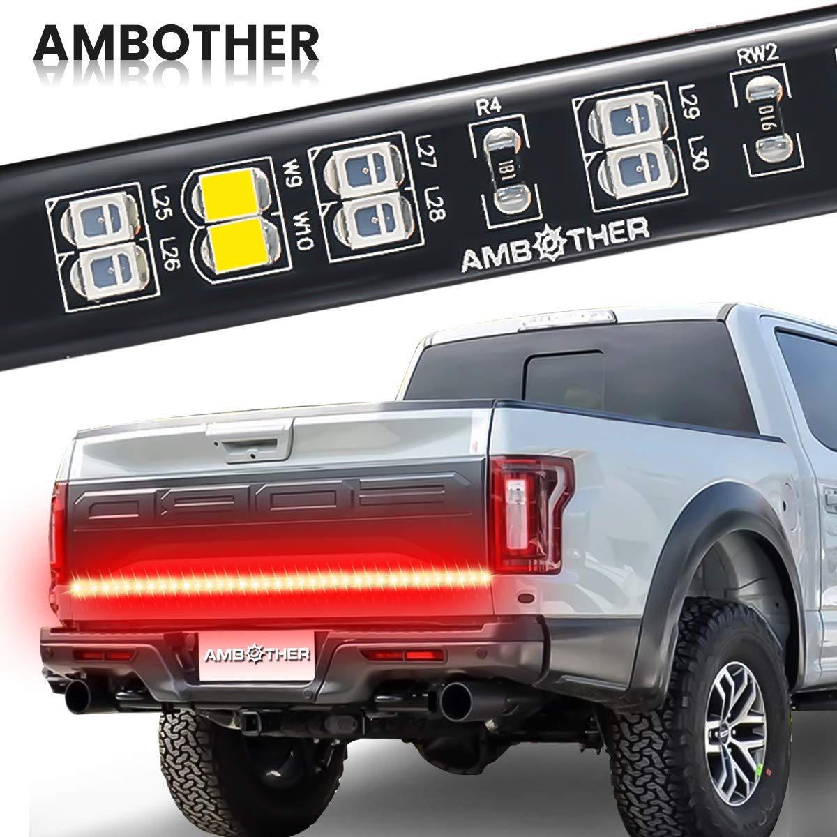 Tailgate Light Bar AMBOTHER 60'' Double Row Tail Light Strip Flexible  Reverse Running Brake Turn Signal LED Light for Truck Pickup Jeep SUV RV  Trailer Van, ...