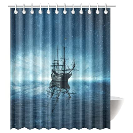 InterestPrint Starry Night Sky And Water Reflection Shower Curtain A Ghost Pirate Ship Floating On