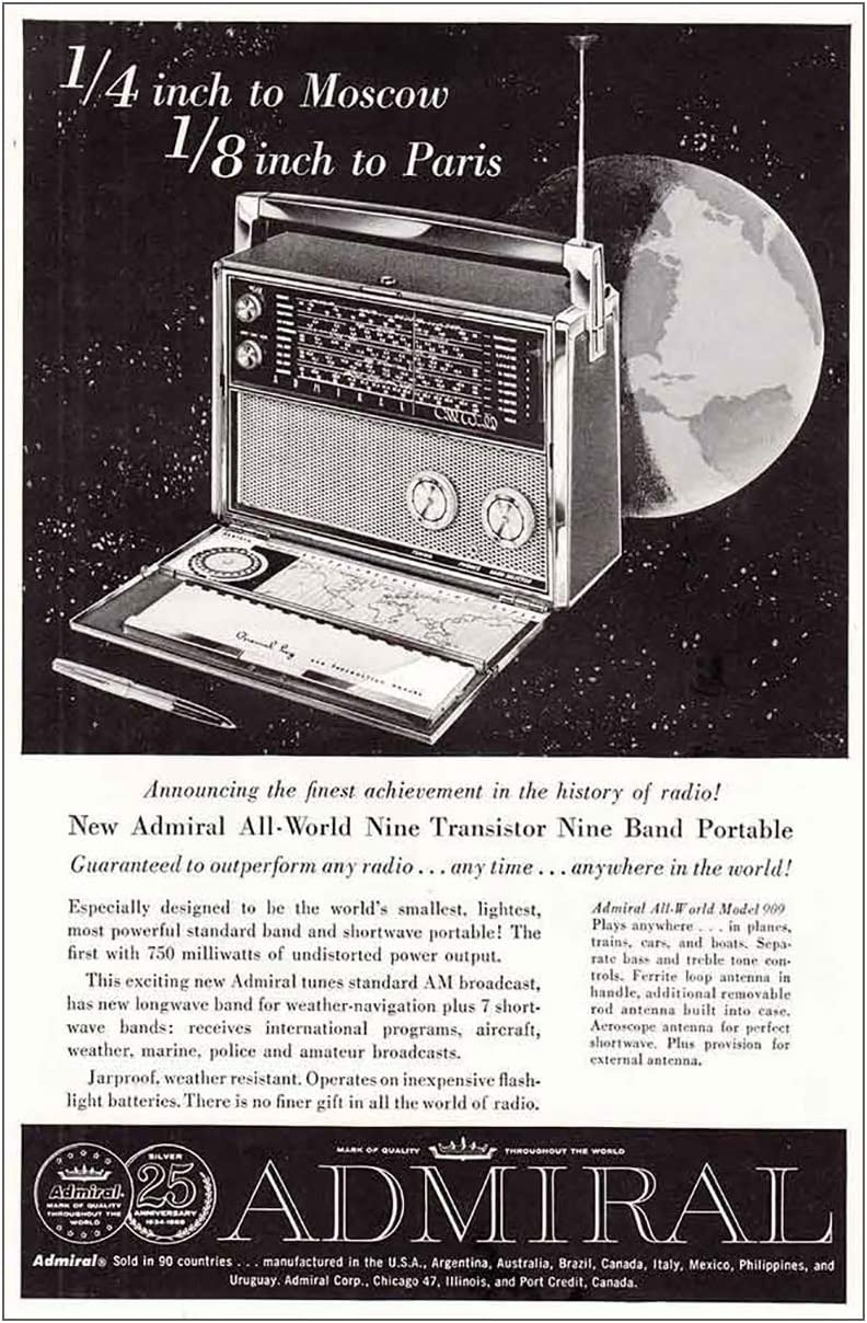 RelicPaper 1959 Admiral Transistor Radio: Moscow, Paris, Admiral Print Ad