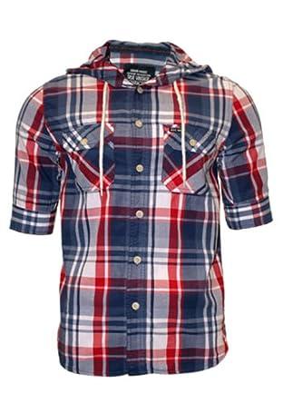 273cad11ce3 Mens Ambrose Jackson Checked Short Sleeve Hooded Shirt (Large ...