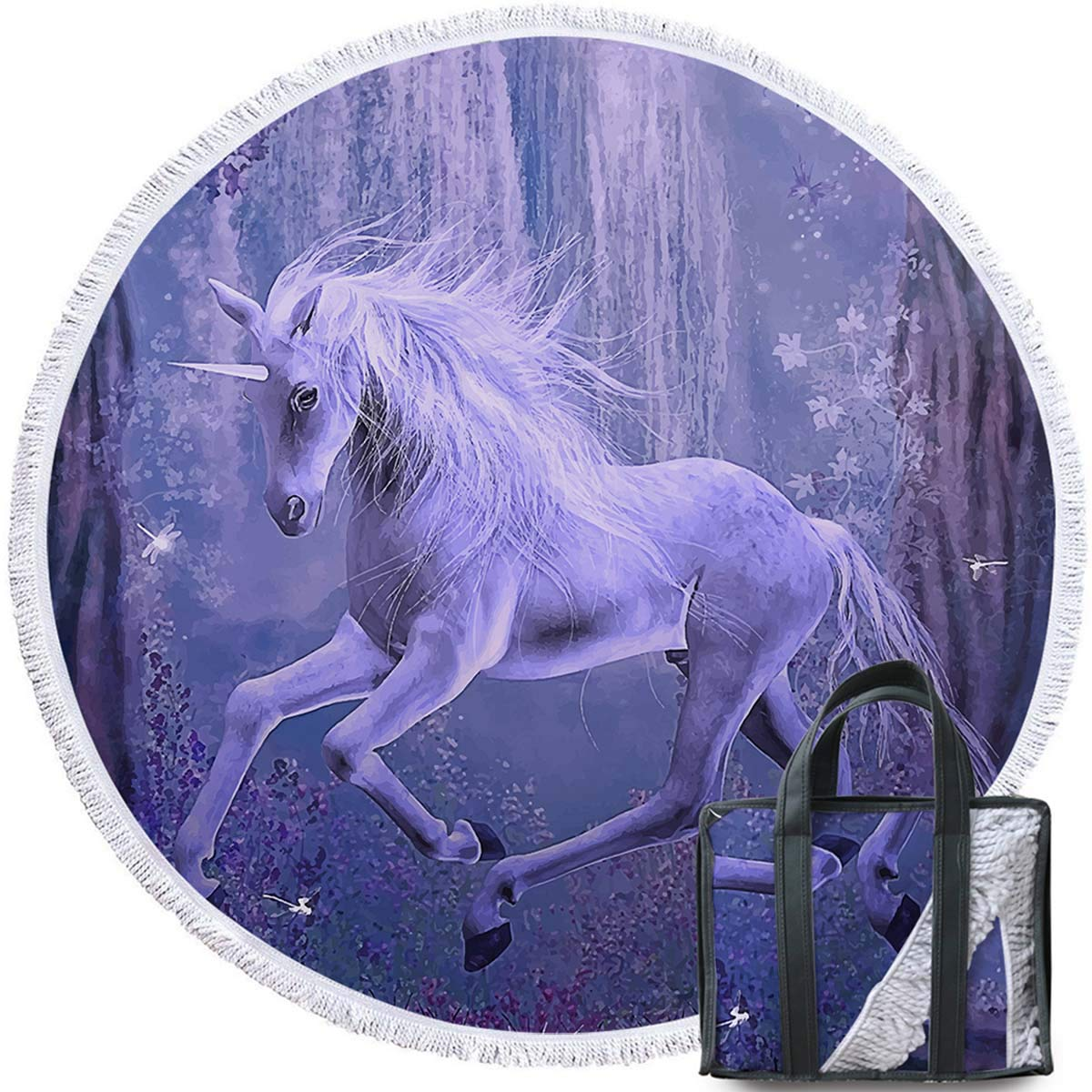 Sleepwish Purple Unicorn Beach Towel and Drawstring Backpack Set Over Sized Horse Blankets for Kids Dreamy Yoga Mats Tassels Throw Blanket (Violet, 60 ...