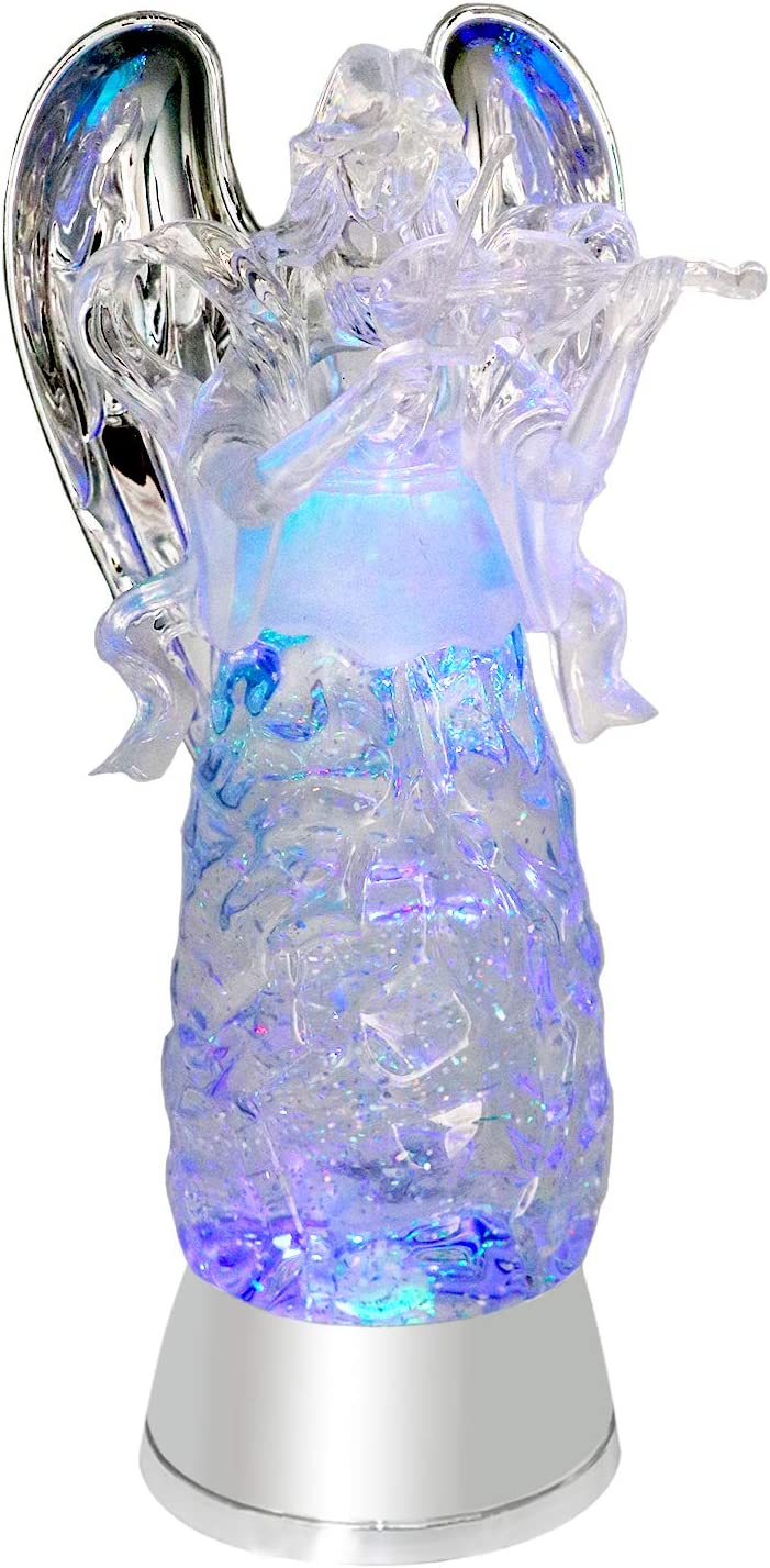 Eldnacele Tri-Color Lighted Swirl Glittering Angel, Battery Operated LED Clear Angel Decorative Light Acrylic Guardian Angel with 6 Hour Timer for Christmas (Violinist)